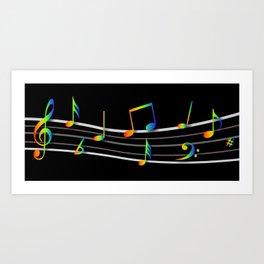 Rainbow Music Notes on Black Art Print
