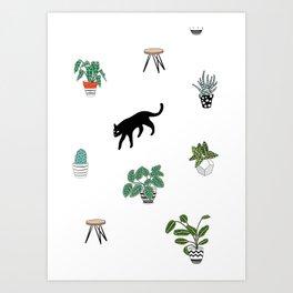 cats and pots pattern Art Print