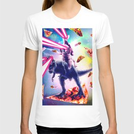 Laser Eyes Space Cat Riding Dog And Dinosaur T-shirt