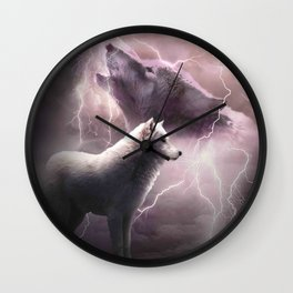 Lightning Wolf Howling At The Moon Wall Clock