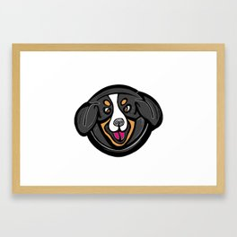 A Round and Silly Bernese Mountain Dog Framed Art Print