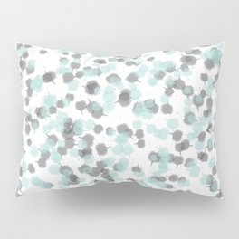 Teal and Grey Ink Drops Pillow Sham