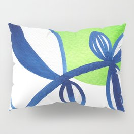 Blue and lime green minimalist leaves Pillow Sham