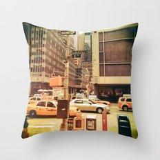 Retro photograph of New York City Throw Pillow
