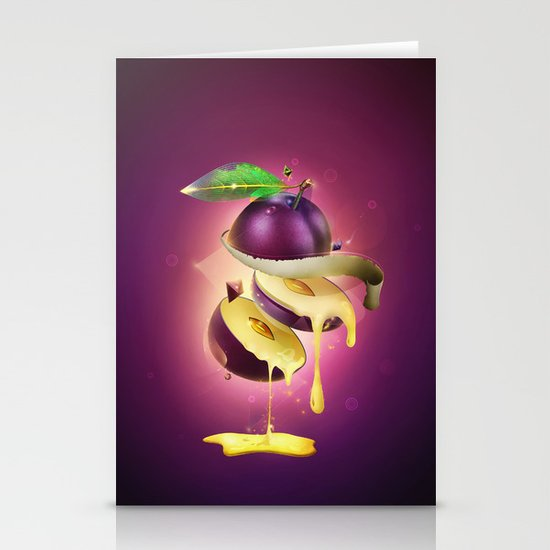 Sliced Plum Stationery Cards