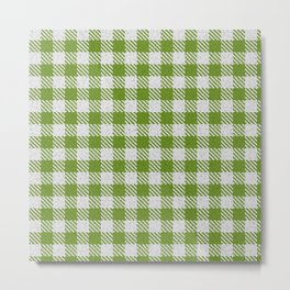 Olive Drab Buffalo Plaid Metal Print