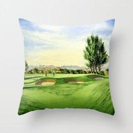 Carnoustie Golf Course Scotland 13th Green Throw Pillow