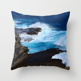 Luxurious, Tropical Ocean Surf in Azure and Turquoise Throw Pillow