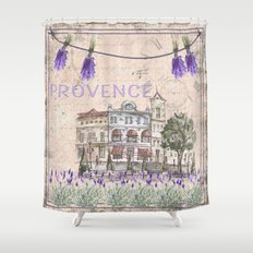 Provence France - my love  - Lavender Watercolor Illustration Shower Curtain