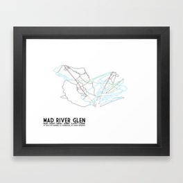 Mad River Glen, VT - Minimalist Trail Art Framed Art Print