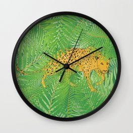 Leopard with tropical leaves Wall Clock