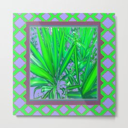 Lilac-Puce-Green Tropical Green Patterned Cacti Art Metal Print