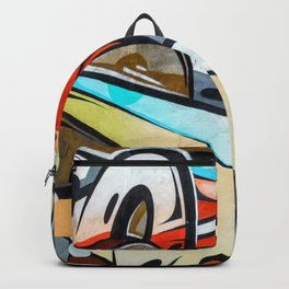 Graffiti blue cyan woman abstract impressionist street art colorful red gray yellow spraypaint urban Backpack