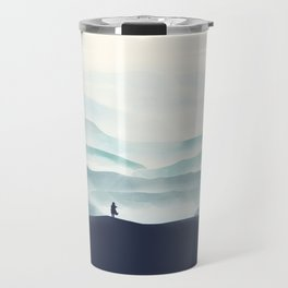 Girl looks at the mountains Travel Mug