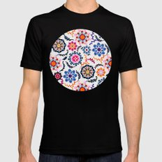 Happy Color Suzani Inspired Pattern Mens Fitted Tee Black MEDIUM