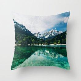 Reflective Lake Clear Mountains Throw Pillow