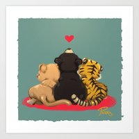 best friends Art Prints featuring Best Friends by Patara