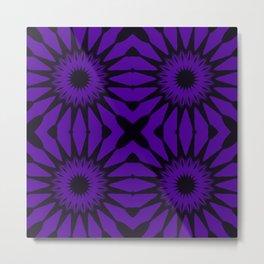 Purple & Black Pinwheel Flower Metal Print