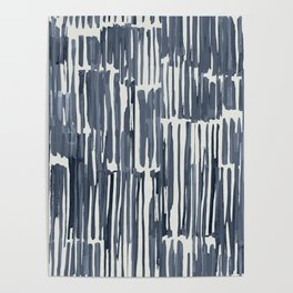Simply Bamboo Brushstroke Indigo Blue on Lunar Gray Poster