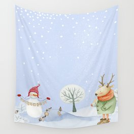 Merry christmas - Snowman Deer and birds are having Winter fun Wall Tapestry