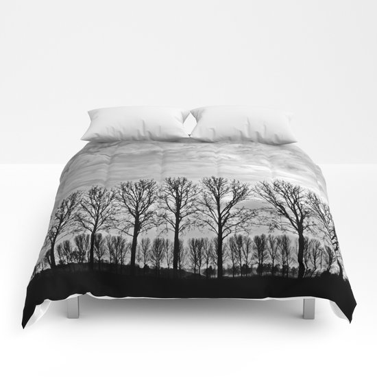 Black and white landscape Comforters