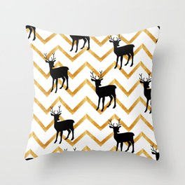 Deer Silhouette on Zigzag Background Throw Pillow