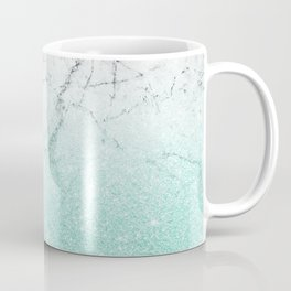 Azure Glitter and Grey Marble Coffee Mug