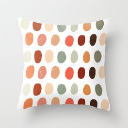 Warm Autumn, minimal retro Hand drawn pastel dots pattern Throw Pillow
