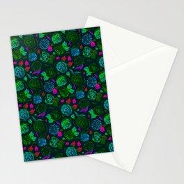Watercolor Floral Garden in Electric Black Velvet Stationery Cards