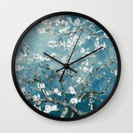 Vincent Van Gogh Almond Blossoms Teal Wall Clock