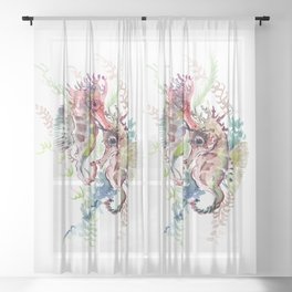 Seahorse, Soft Coral Colors Sheer Curtain