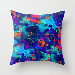 blue wattsit Throw Pillow