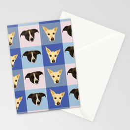 Dog Portraits on Checkered Pattern - Modern Geometrical Style Stationery Cards