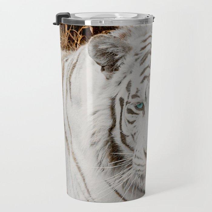 WHITE TIGER GAZE Travel Mug