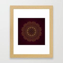 Gold Mandala on Royal Red Background Framed Art Print