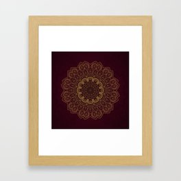 Gold Mandala on Royal Red Background Framed Art Print
