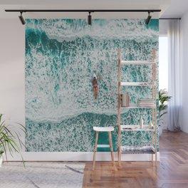 Girl Surfing Wall Mural