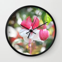 Fuchsia Blossom #1 #pink #white #art #society6 Wall Clock