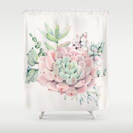 Perfect Pink Succulent Shower Curtain