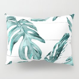 Turquoise Palm Leaves on White Wood Pillow Sham
