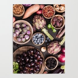 Assortment raw organic of purple ingredients Poster
