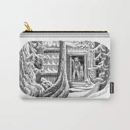 SNOWED IN MOUNTAIN MAN AND WOLF VINTAGE PEN DRAWING Carry-All Pouch