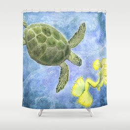The Sea Turtle and Sea Nymph Shower Curtain