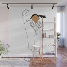 Positively Girly - Karate girl sketch Wall Mural