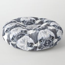 pug Dog illustration original painting print Floor Pillow