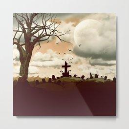Full Moon Graveyard Sepia Metal Print
