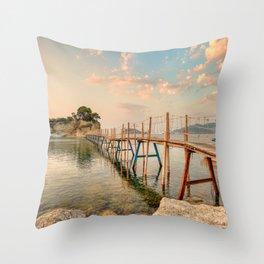 The sunrise at Agios Sostis Island  (Cameo) in Zakynthos, Greece Throw Pillow