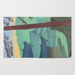 Asano Takeji Japanese Woodblock Print Vintage Mid Century Art Teal Turquoise Sunrise Shrine Rug