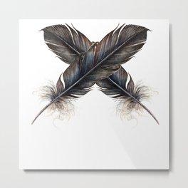 X - Black feathers    , crow, Metal Print