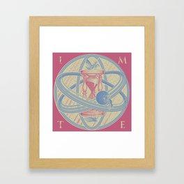 Time Infinity System. Orbit, sandglass, scarab, cicada, mantis. Engraving illustration. Part 1. Framed Art Print